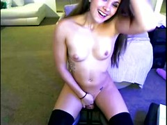 Amateur cam pussy sits on a dildo and rides hard enough to make her cum