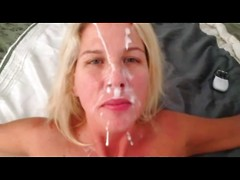 His pretty blonde girlfriend sucks dick for a facial and the cumshot is quite large