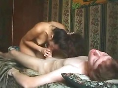 Skinny guy fucks his Russian girlfriend all over the bed and cums on her ass